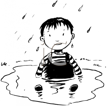 Royalty Free Clipart Image of a Kid in a Puddle