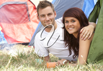 Young couple on camping trip