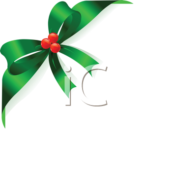 Royalty Free Clipart Image of a Page Corner With Red Ribbon and Bow