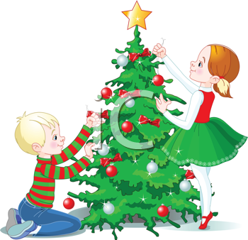 Royalty Free Clipart Image of Children Decorating a Christmas Tree