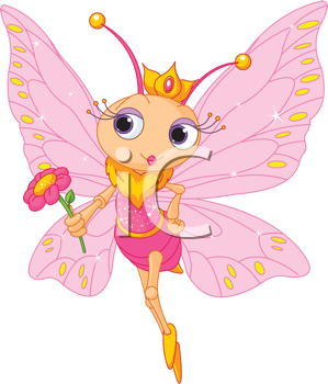 Illustration of Beautiful Butterfly princess holding flower