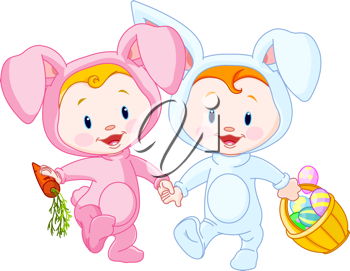 Two cute Easter Babies-bunnies, holding hands