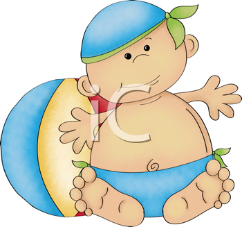 Royalty Free Clipart Image of a Baby With a Beach Ball