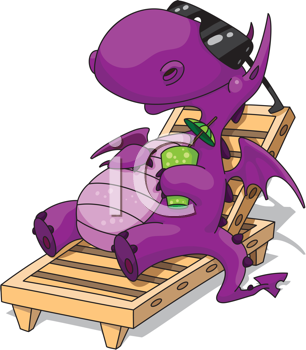 Royalty Free Clipart Image of a Dragon on Vacation on a Lounger