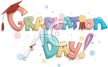 Royalty Free Clipart Image of the Words Graduation Day