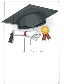 Royalty Free Clipart Image of a Graduation Frame