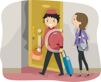 Royalty Free Clipart Image of a Bellboy and Guest