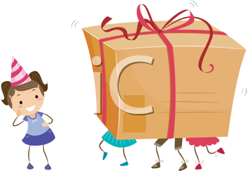 Royalty Free Clipart Image of Children Carrying a Large Gift Box