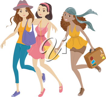 Illustration of a Group of Fashionable Girls Off to a Trip