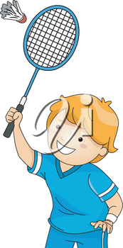 Illustration of a Boy Playing Badminton