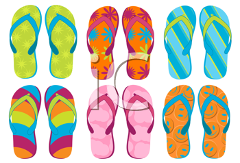 Royalty Free Clipart Image of a Group of Colourful Flip Flops