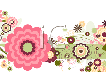 Royalty Free Clipart Image of a Background With Flowers
