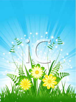Royalty Free Clipart Image of Summer Flowers