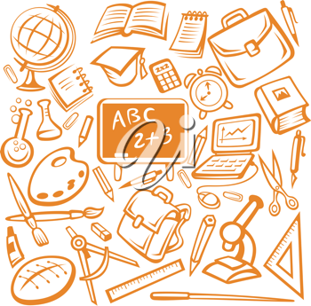 Back to school - many isolated education objects