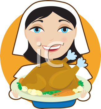 Royalty Free Clipart Image of a Pilgrim Woman Holding a Platter