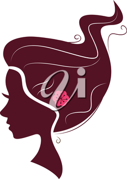 Romance female hair silhouette. Vector Illustration