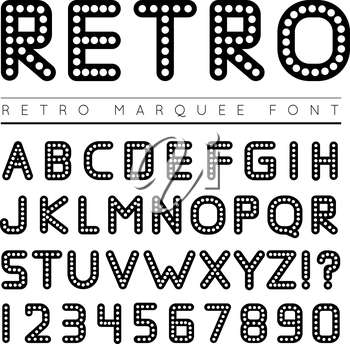 Retro marquee font. Vector illustration on white background