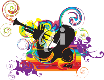 Royalty Free Clipart Image of a Man Playing the Trumpet