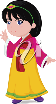 illustration of japanese girl in traditional dress