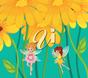 Illustration of the two fairies under the flowers