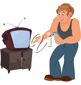 Illustration of cartoon male character isolated on white. Happy cartoon man standing near TV.