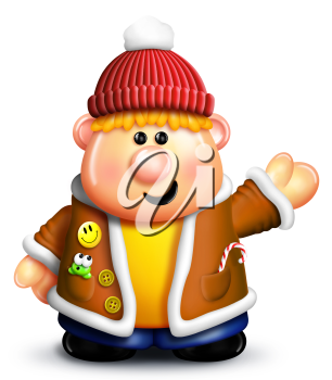 Royalty Free Clipart Image of a Boy in Winter Clothes Waving