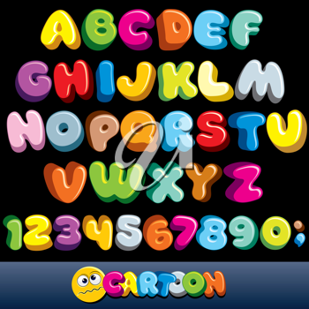 Funny Comics Font. Vector Cartoon Alphabet with All Letters and Numbers