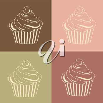 Cupcakes seamless linear pattern, vector format