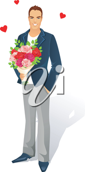 Vector illustration of Man with bouquet of roses