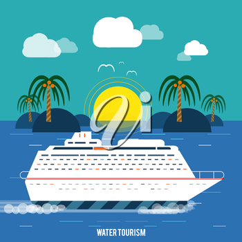Cruise ship and clear blue water. Water tourism. Icons of traveling, planning a summer vacation, tourism and journey objects
