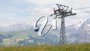 Ski lift cable booth or car, Switzerland in summer