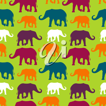 Seamless pattern with hand drawn silhouette elephants
