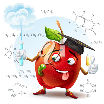 Royalty Free Clipart Image of an Apple Chemistry Teacher