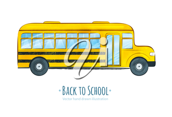 School bus. Hand drawn vector illustration. isolated.