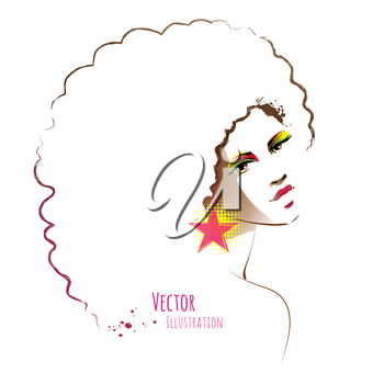 Disco girl with afro hairstyle. Vector illustration.