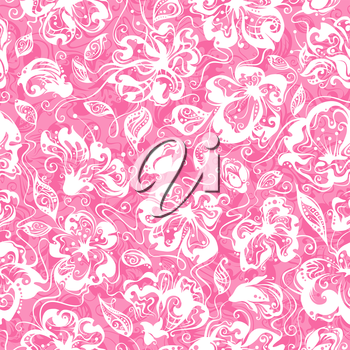 Pink seamless texture with flowers in bloom for your design.