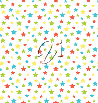 Seamless bright abstract pattern with stars isolated on white background