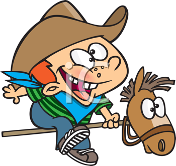 Royalty Free Clipart Image of a Kid on a Toy Horse