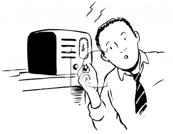 Royalty Free Clipart Image of a Man Tuning In to the Radio