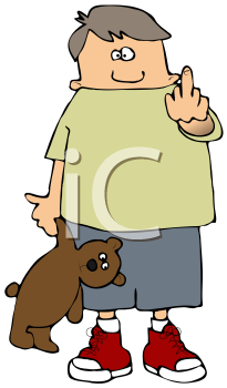 Royalty Free Clipart Image of a Boy Giving the Middle Finger