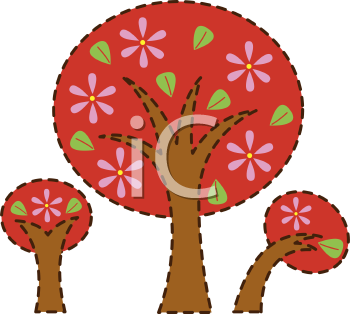 Royalty Free Clipart Image of Three Trees