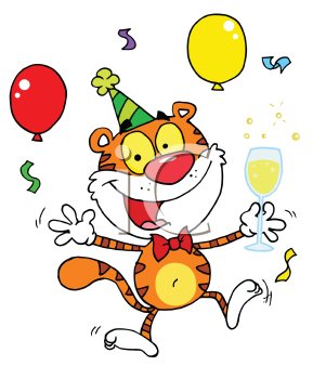Royalty Free Clipart Image of a Tiger Partying