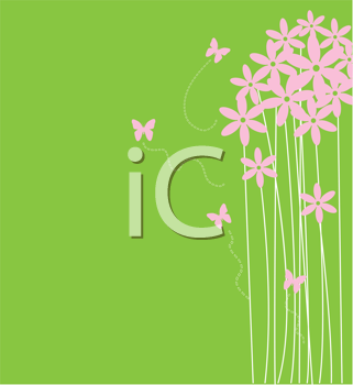 Royalty Free Clipart Image of a Spring Background With Flowers