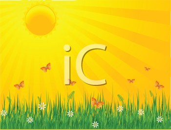 Royalty Free Clipart Image of  a Summer Sunny Day Background