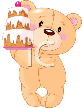 Royalty Free Clipart Image of a Baby Bear With a Birthday Cake