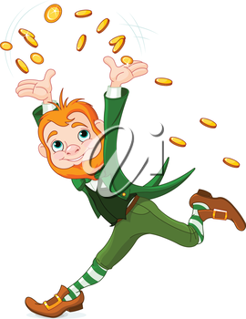 Cute running Leprechaun throwing gold coins into the air