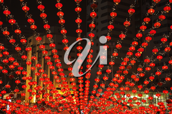 Traditionally decorated entrance in prestigious Chinese hotel