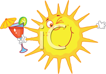 Royalty Free Clipart Image of a Sun With a Tropical Drink