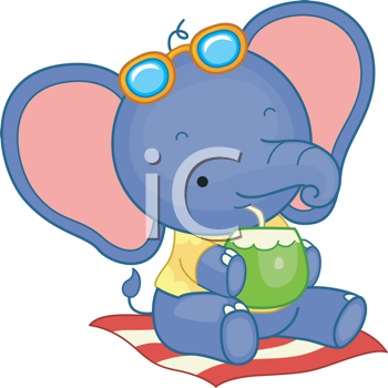 Royalty Free Clipart Image of an Elephant Having a Tropical Drink