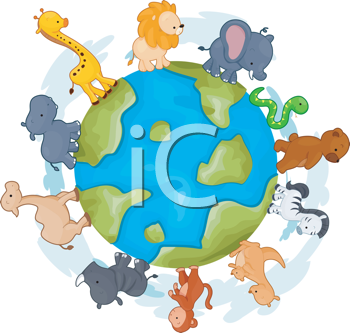 Royalty Free Clipart Image of Animals Walking Around a Globe